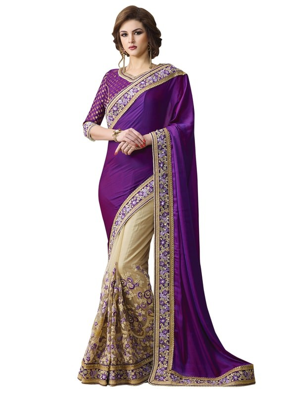 Leemboodi Fashion Beige and Purple TWO TONE SILK Saree