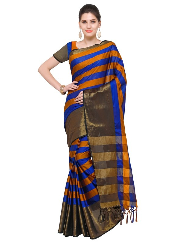 Leemboodi Panash Trends Orange and Blue Silk Saree