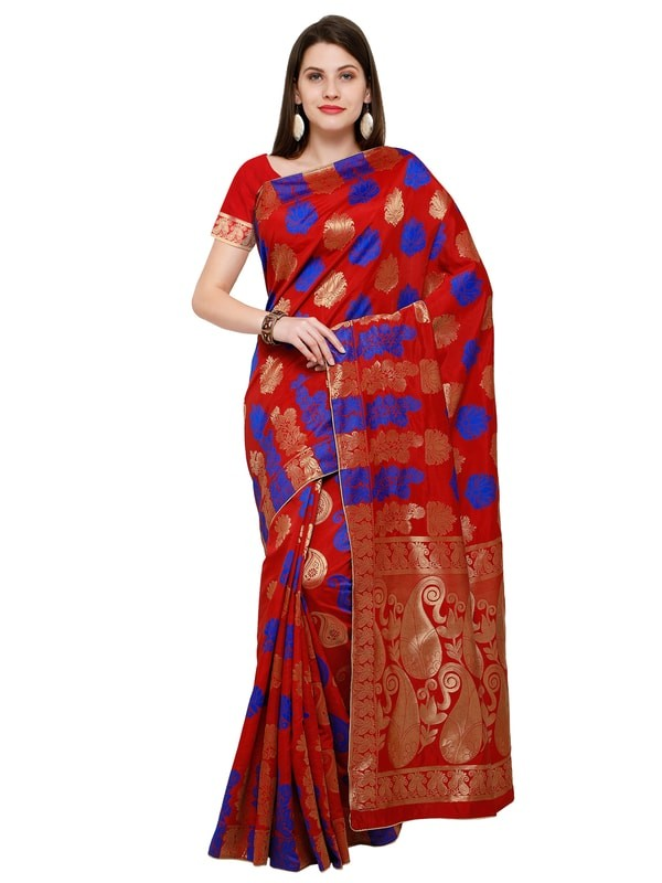 Fashion and Party Green and Brow Bangalore Silk Saree