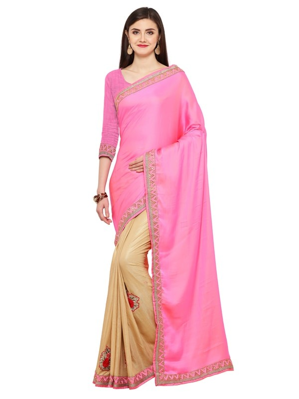 Leemboodi Fashion Beige and Pink Silk Saree