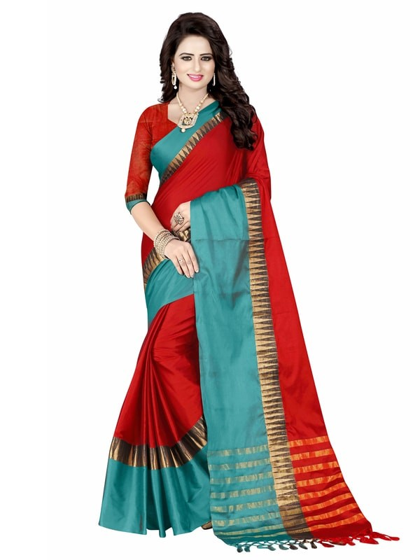 Leemboodi Fashion Satin Blend Green and maroon Saree